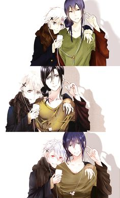 Allen x Kanda (D.Gray-man), Kuroh x Shiro (K-Project), Nezumi x Shion (No.6). Nezumi/Shion is totally my fav, though