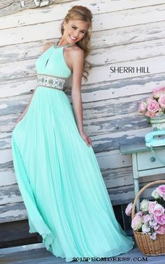 Keyhole Sherri Hill 11251 Light Green Prom Dress 2015
