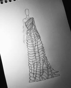 Fashion Model Sketch, Fashion Design Sketchbook, Fashion Design Drawings, Fashion Sketches, Art Sketchbook, Fashion Figure Drawing, Fashion Drawing Dresses, Fashion Illustration Dresses, Fashion Illustration Tutorial