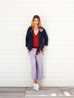 Lilac, red and navy. Otherwise, the colours of the flag of summer.