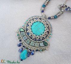 Türkiz  gyöngyhímzett nyaklánc (sugarfono) - Meska.hu Charmed, Bracelets, Jewelry, Jewlery, Jewerly, Schmuck, Jewels, Jewelery, Bracelet
