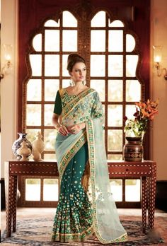 Green designer saree with blouse