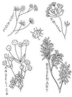 free vintage herbs #freecrewel