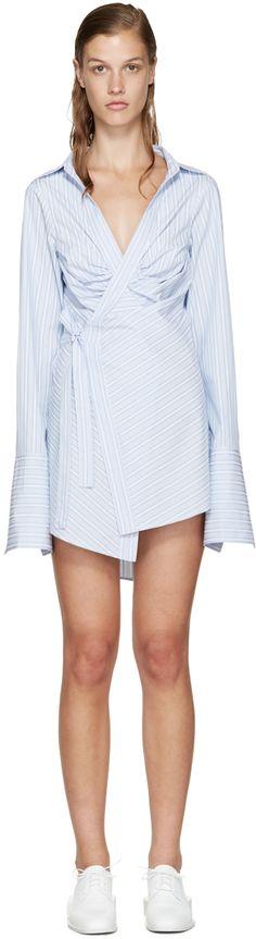 Jacquemus: White & Blue Striped Wrap Shirt | SSENSE