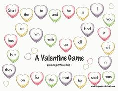Free Valentine Sight Word Game Boards