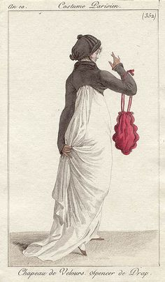 This hat is full of yes! English fashion plates from and French fashion plates from Year 10 of the French Republican Calendar. All images come from the collection of the Bibliothèque des Arts Décoratifs. 1800s Fashion, 19th Century Fashion, Vintage Fashion, Victorian Fashion, Regency Dress, Regency Era, English Fashion, French Fashion, Historical Costume