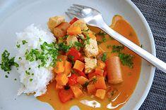 Se opskriften på den fantastiske ret her. One Pot, Thai Red Curry, Bacon, Dinner, Ethnic Recipes, Food, Dining, Stew, Food Dinners
