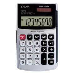Professional grade U.S. standard to metric conversion calculator  Carry anywhere for U.S. to metric and metric to U.S. conversions of volume, area, length, weight or temperature. Also functions as a standard calculator. Results are easy to read on the large 8 digit display. Solar powered with a back up battery for use in low light areas. Automatic power off. Comes ready to use in a hard folding case with full instructions and button cell batteries.