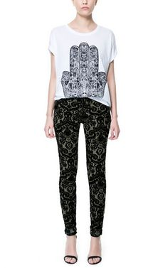 Image 1 of FLOCKED PRINTED TROUSERS from Zara