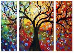 Three Pieces Large Wall Decor Modern Abstract Art Oil Painting Canvas No Frame | eBay