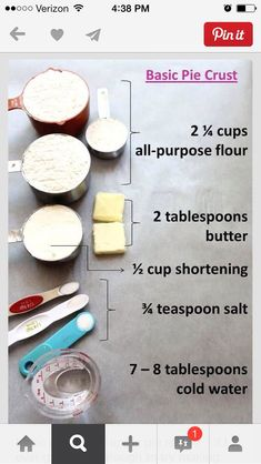 basic pie crust / apple pie recipe { if I ever get brave enough to try making homemade pie crust for chicken pot pie . } I think homemade pie crust may be better than store bought in the chicken pot pie Homemade Pie Crusts, Pie Crust Recipes, Apple Pie Recipes, Sweet Recipes, Easy Pie Crust, Just Desserts, Delicious Desserts, Dessert Recipes, Yummy Food