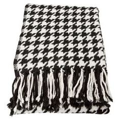 Cashmere & Merino Wool Throw Blanket in Black & White
