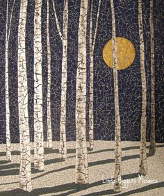 This is another version of Winter Birches. eggshell mosaic, by Linda Biggers. Thought this was a quilt - it's a mosaic using actual eggshells. Mosaic Crafts, Mosaic Projects, Mosaic Designs, Mosaic Patterns, Art Patterns, Mosaic Glass, Mosaic Tiles, Stained Glass, Mosaic Mirrors