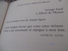 Réponse de George Sand à Alfred de Musset George Sand, Beginning Sounds, Handsome Quotes