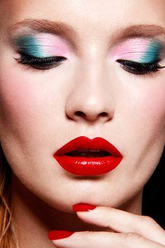Pastel eyes, red lips