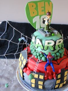 Spiderman and Ben 10 Birthday cake for my grandson Harry