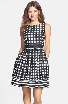 (Possible rehearsal dinner dress} Eliza J Print Faille Fit & Flare Dress available at #Nordstrom