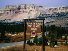 Sign at Beartooth Mountains, Top of the World Store and Motel Supplies . Big Sky Country, Top Of The World, Outdoor Recreation, Motel, Montana, Mount Rushmore, Travel Destinations, Scenery, Places To Visit