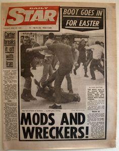 Mod bank holiday weekender newspaper headlines.