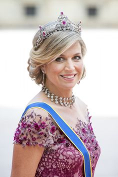Queen Máxima of the Netherlands wore the stunning Ruby Tiara made by Mellerio…