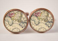 18mm Cuff LInks, Vintage World Map Cufflinks, Resin Cuff Links, Mens Accessories, Cufflinks C337 on Etsy, 8,48€