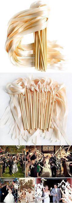 Laribbons Single Color Ribbons Wand Sticks Wedding Party Favor Laribbons Single Color R Wedding Wands, Wedding Party Favors, Wedding Bells, Diy Wedding, Rustic Wedding, Wedding Ceremony, Dream Wedding, Wedding Day, Budget Wedding