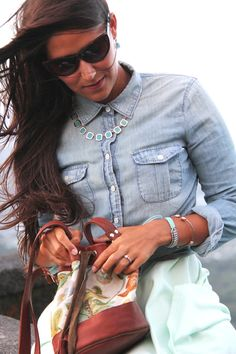 denim buttoned shirt with a mint skirt and a matching mint necklace!!