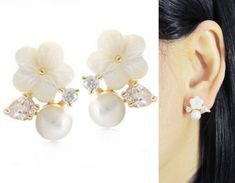 Swarovski Pearl Clip On Earrings 20E White Floral by boadNNcraft