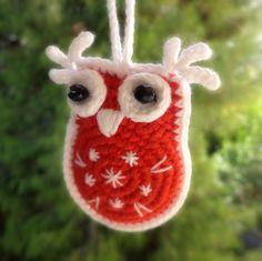 Owl Christmas Ornament Crochet by SpringFresh on Etsy
