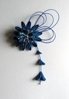 Flor Kanzashi azul pelo Fascinator por EmjoyShop en Etsy