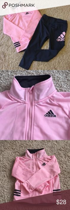 ADIDAS SET Cute pink and gray ADIDAS full zip up jacket size and matching pants in 24m! Jacket Has pockets on both sides and a zipper cover at the top. Pants has the adidas logo on one leg. Worn only twice! Free gift with any bundle of 3 or more kids clothes/shoes ❤️ adidas Matching Sets
