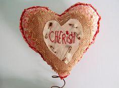 PRIMITIVE VALENTINE'S Day HEART Nodder or Make Do by CornCobCove, $23.00