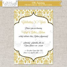 50th anniversary invitation gold party invite by announceitfavors 50th anniversary party invitation printable stopboris Images
