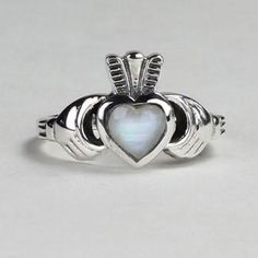 Mystic River Online Rainbow Moonstone Claddagh Ring