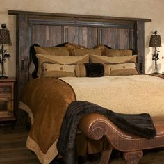Rustic headboard.  Hre: need a bench at the foot to anchor it as well.