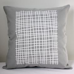 16 in Square Throw Pillow  Light Gray with Grid by wickedmint, $36.00