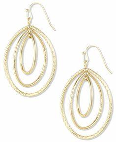 Anne Klein Gold-Tone Small Oval Drop Earrings - Fashion Earrings - Jewelry & Watches - Macy's