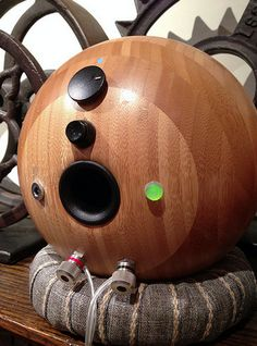 Ikea Salad Bowl speakers with internal amp, battery, and bluetooth - Techtalk Speaker Building, Audio, Video Discussion Forum Wooden Speakers, Built In Speakers, Bluetooth Speakers, Best Loudspeakers, Speaker Building, Electronics Projects, Nautilus, Salad Bowls, Diy And Crafts