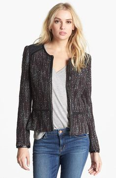 Hinge Faux Leather Trim Tweed Jacket | Nordstrom