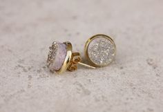 Champagne Titanium Druzy Gold Earring Studs
