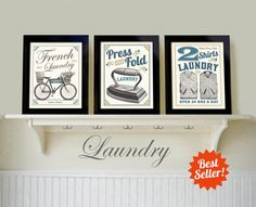 Laundry Room Decor, French Laundry Art Print, Bicycle Art Vintage Prints Picture Set of 3 Bathroom Decoration Wash Dry Fold Repeat New Home Country Laundry Rooms, White Laundry Rooms, Country Kitchen, Laundry Room Art, Laundry Room Signs, Laundry Decor, Laundry Shop, Powder Room Signs, Powder Rooms
