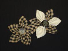 2 Primitive Homespun Fabric Flower by BJSCountryCharm on Etsy,
