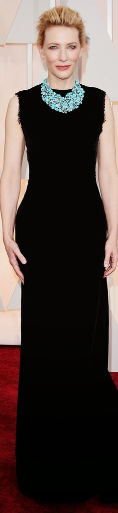 Cate Blanchett goes for an understated look in black Maison Margiela. 2015 Oscar Red Carpet