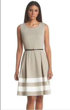 Calvin Klein Women's Khaki Ponte Stripe Fit and Flare Dress Size 8 | eBay