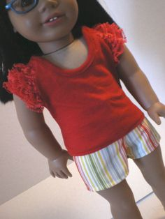 Ruffled Tshirt Shorts  American Girl Doll Clothes by fashioned4you