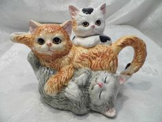 Kitten Cat Teapot Creamer Sugar Bowl Lid Ceramic | eBay