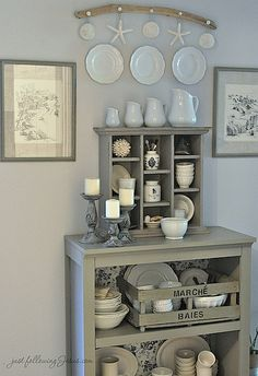 gray shelf and ironstone 1.jpg by ElizabethS., via Flickr