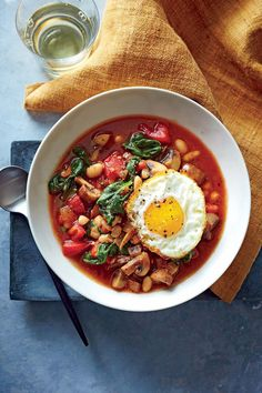"""White Bean and Vegetable Bowls with Frizzled Eggs 