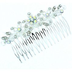 Bridal Hair Accessories- Silver and Crystal Large Spiral Flower Hair Comb