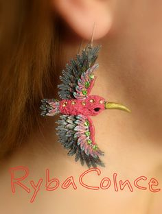 Earrings Bird of Paradise by RybaColnce on Etsy, $45.00